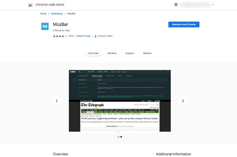 MozBar on Google Chrome Web Store